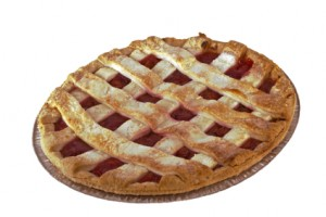 home-made cherry pie white background
