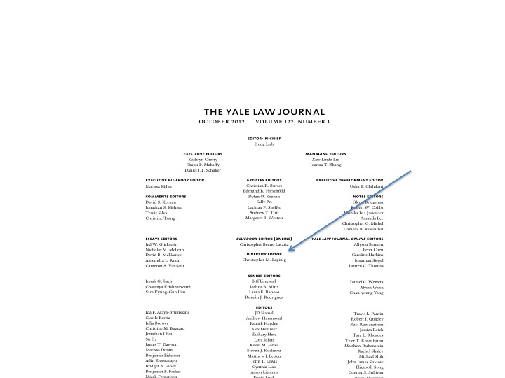 Yale Law Journal masthead with Diversity Editor