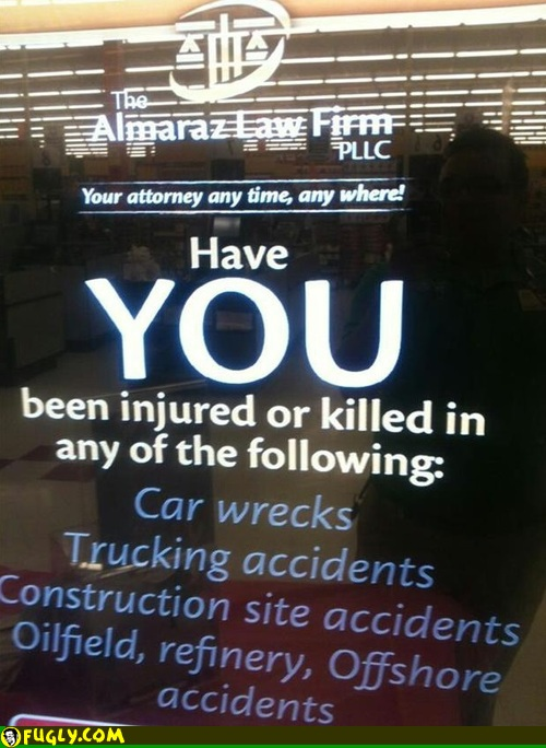 Law firm's advertising text