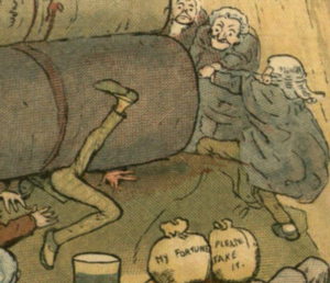 vintage illustration of steamroller run by lawyers