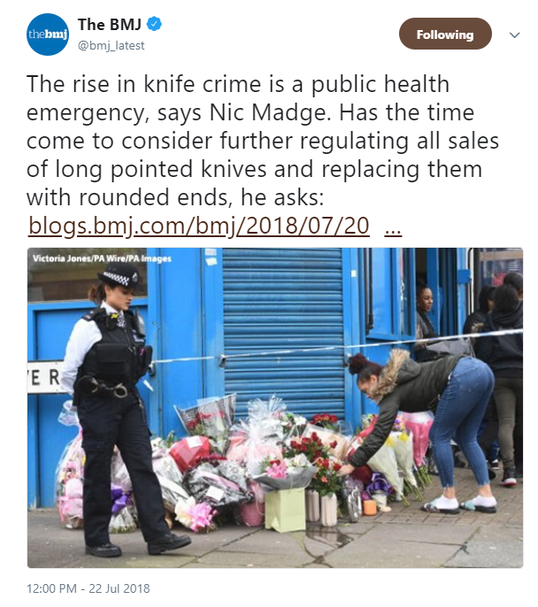 British Medical Journal tweet proposing pointy knife ban