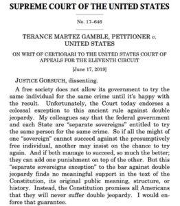 Gorsuch dissent in Gamble v. U.S.
